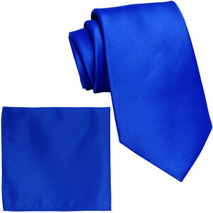 NEW-100-Silk-Men-039-s-Neck-tie-amp-hankie-set-skinny-2-5-034-ROYAL-BLUE-formal-wedding