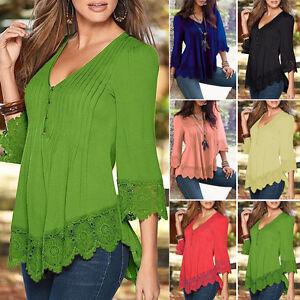 mujer-manga-larga-cuello-de-pico-encaje-Camisa-Holgado-Blusas-Camiseta-Sueter
