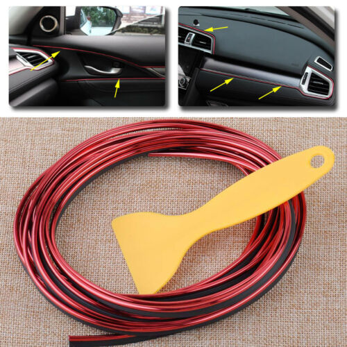 Universal 5M Car Interior Exterior Styling Moulding Decorative Filler Strip Red