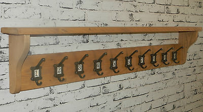 Vintage style School style Coat&Hat Rack with shelf & label frame hooks No 1-10