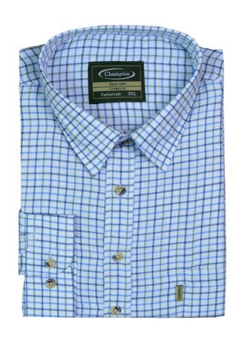 Da uomo Tattersall Camicia Maniche Lunghe in Policotone tessuto ideale per la Pesca TIRO