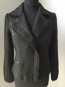 Womens-KARL-LAGERFELD-PARIS-Black-Asymmetrical-Zipper-Pockets-Jacket-Size-4