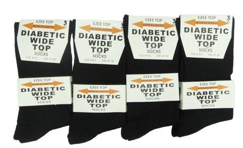 Diabetico Calzini Ampia Top Taglia 4-6 Donna Ragazze 100/% Cotone Nero Calzini
