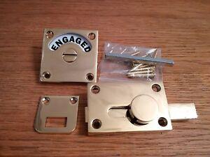 Brass Vacant Engaged Toilet Bathroom Door Lock Indicator Bolt Slide