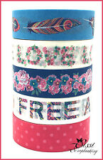 MAXI LOT Masking tape (x5) Masking Tape Artemio - Flower Power - 1,5 cm x 5 m