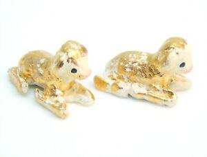 Set-2-Mexican-Pottery-Folk-Art-NATIVITY-Creche-BABY-SHEEP-LAMB-CALF-FIGURINES