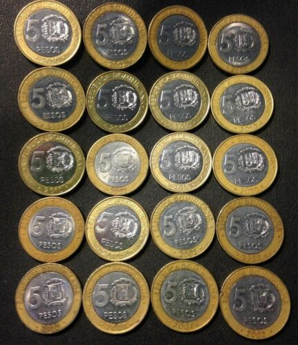 20 BI-METAL COINS Old Dominican Republic Coin Lot 5 PESO FREE SHIPPING