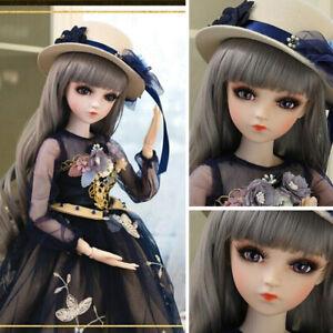 60cm-1-3-BJD-Puppe-Doll-Ball-Jointed-Maedchen-mit-Augen-Make-up-Peruecken-Hut-Girl