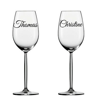 12 x Personalised NAME Or WORDS Vinyl Decal STICKERS For Wine Glass Mug Bottle