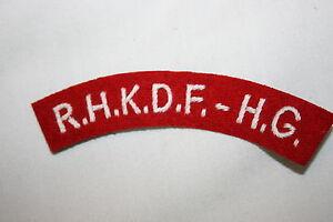 HONG KONG DEFENCE FORCE H.G CLOTH SHOULDER TITLE/'S PAIR TITLES