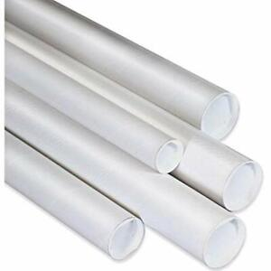 Postal Mailing Tubes with End Caps 2 x 14 inch 10 Pack