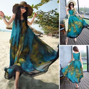 Women-Sleeveless-Long-Maxi-Dress-Peacock-Floral-Print-Summer-Beach-Sundress-Plus