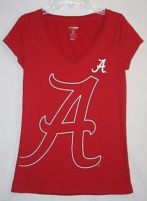 Alabama Crimson Tide V Neck T Shirt Juniors Large Cap Sleeve Pro Edge L