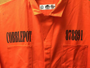 Batman PENGUIN Cobblepot Blackgate Penitentiary Orang Jumpsuit Halloween Costume