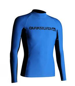 NEW! AUTHENTIC QS MEN'S LONGSLEEVE RASHGUARD SWIMWEAR (BLUE/BLACK, SIZE SMALL)