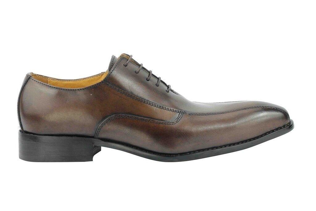 NUOVA linea pelle uomo marrone scuro vera pelle linea vintage Smart Casual BICICLETTA Toe Lacci Scarpe 56501d