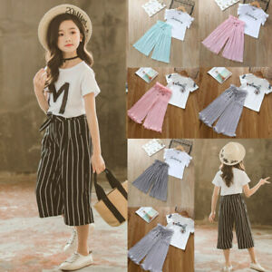 ❤Ywoow❤️ Children Kids Baby Girls Letter T Shirt Tops+Ruffle Loose Pants Outfits Costume