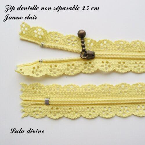Couleur Jaune clair Zip// Fermeture éclair dentelle non séparable de 25 cm