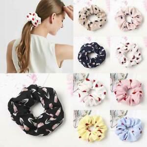 Cute-Strawberry-Flower-Printed-Scrunchies-Elastic-Hair-Ties-Ponytail-Hair-Rope