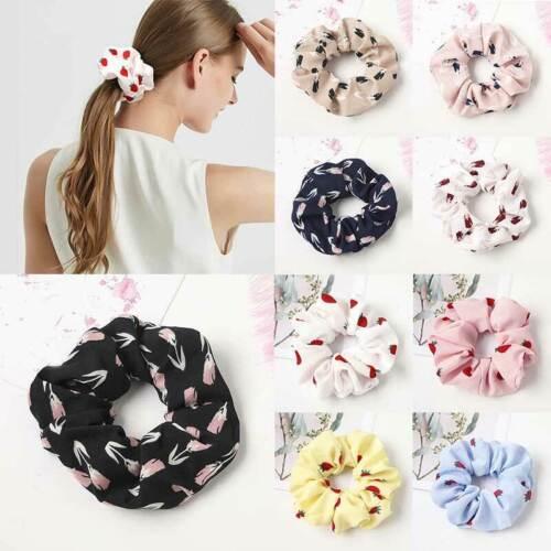 Cute Strawberry Flower Printed Scrunchies Elastic Hair Ties Ponytail Hair Rope