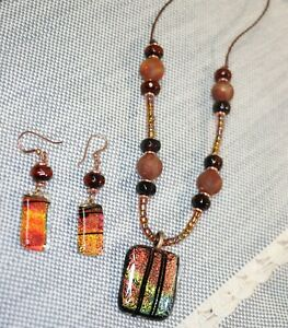 Handmade-Necklace-and-Earring-Set-Dichroic-Glass-Jasper-Agate-and-Leather