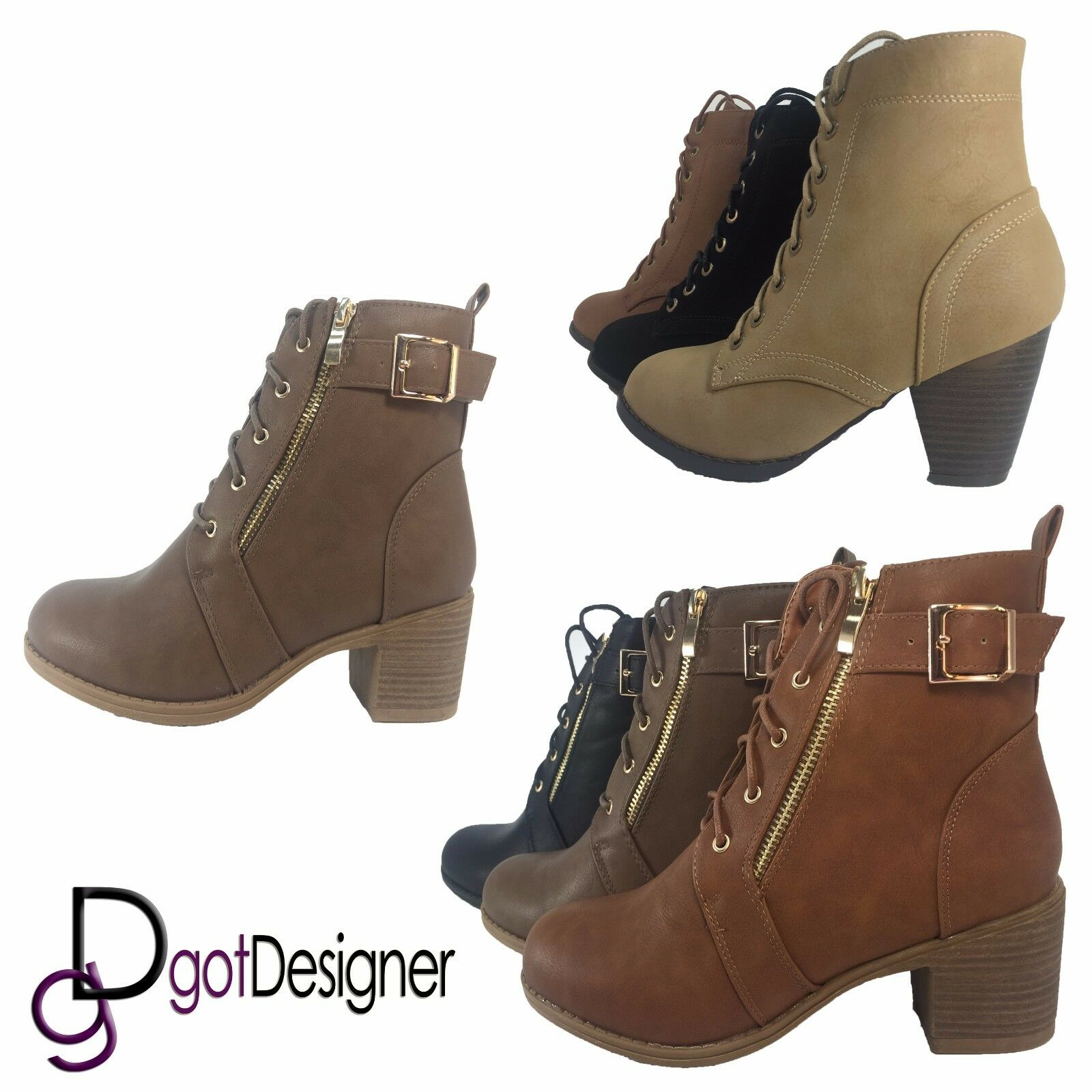 NEW Womens Fashion Shoes Booties Ankle Boots Wedges Faux Leather Strap Around