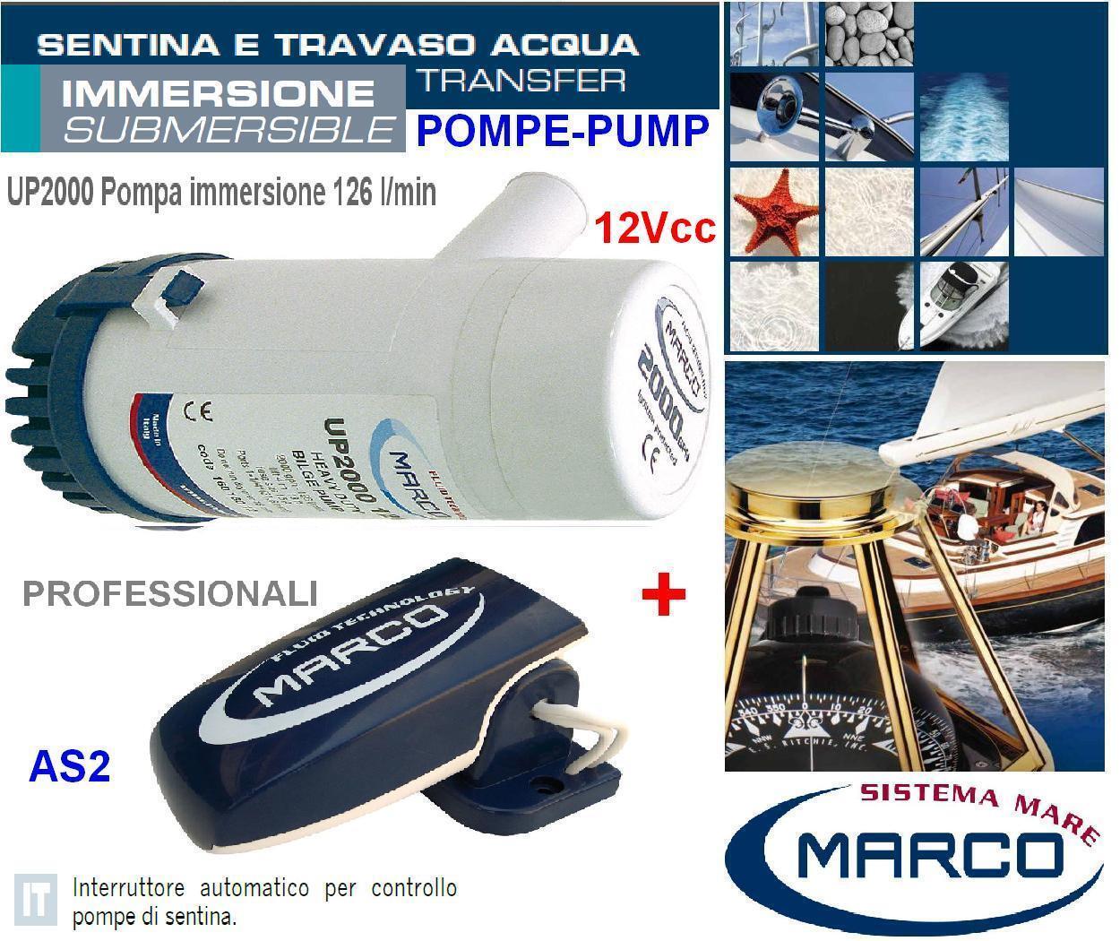 Marco UP2000 Pumpe automatisch der bilge Tauchgang 12V 126L/min+Schalter automatisch Pumpe Stiefel 87f2b7