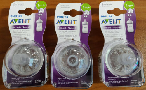 BRAND NEW Philips Avent Natural Nipple Slow Flow Size 2 1 Months + - 6 Pack