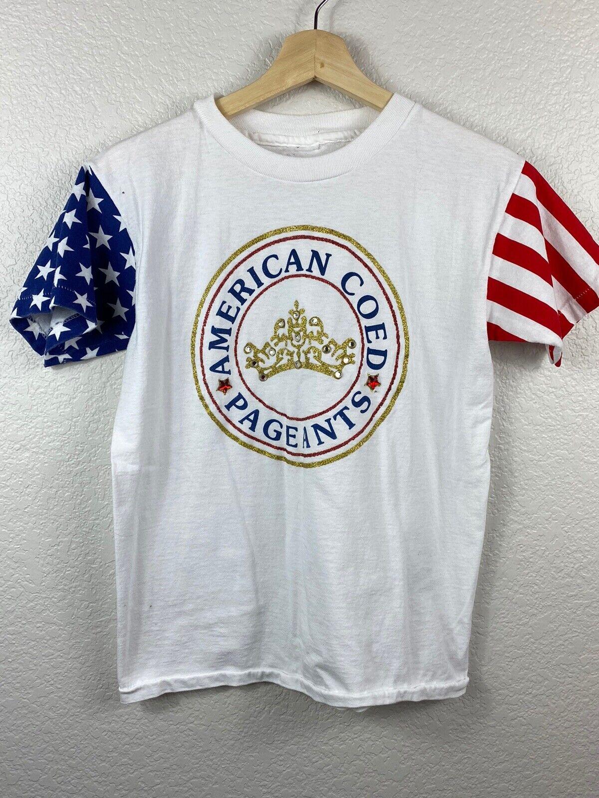 American Coed Pageants T-Shirt Vintage Single Stitch Stars Stripes Patriotic S