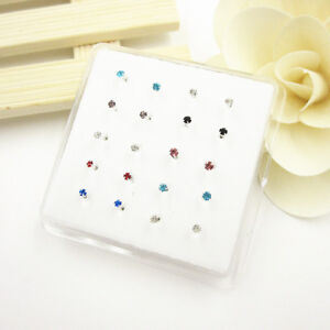 Lots-20Pcs-Claw-Set-Multi-Color-Crystal-925-Solid-Silver-Nose-Stud-Piercing-Stud