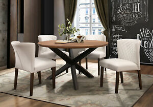 Groovy Details About Ladson Modern Walnut Brown 5 Pieces Furniture Dining Room Round Table Chairs Set Ibusinesslaw Wood Chair Design Ideas Ibusinesslaworg
