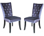 Pair of Silver Crushed Velvet Dining Chairs Luxury Fabric Diamante Stud Detail