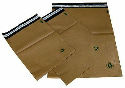 Biodegradable Poly Bag Mailers 500 #5 12 x15.5 Brown Eco Friendly Unlined SS