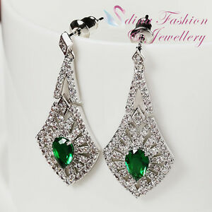 18K-White-Gold-GP-Made-With-Swarovski-Crystal-Studded-Emerald-Formal-Earrings