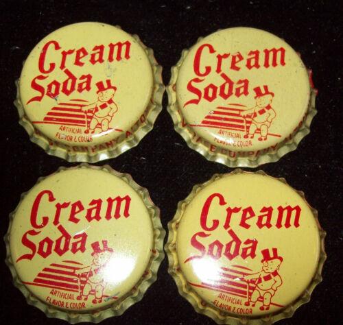 Lot of 4 Vintage Duke Cream Soda Unused Soda Pop Bottle Caps Top Hat Baby