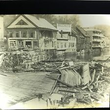 Vtg Magic Lantern Glass Slide Photo Montpellier Flood Harris Garage Socony