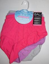 3 Bali Nylon Brief Panty Set Seamless No Ride Up 10//11 Pink Beige White NWT