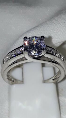 925 STERLING SILVER RHODIUM PLATED  SAPPHIRE SOLITAIRE RING SZ 6 7 8 9