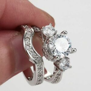 925-Silver-White-Sapphire-Wedding-Band-Rings-2pcs-Set-Women-Fashion-Jewelry