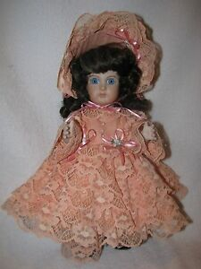 "12"" All Bisque Artist Made Doll Dressed In Peach Lace Dress"
