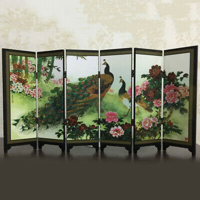 6-Panel Peacock Screen Room Divider Wood Folding Partition Commemorative Gift