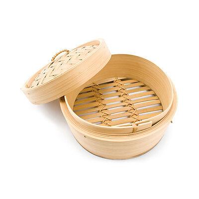 Vaporiera cuocivapore bambù bambo contenitore 2 pezzi cottura vapore 13//20//25cm