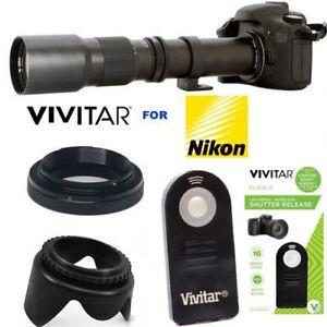 VIVITAR-HD-500MM-PRESET-ZOOM-LENS-REMOTE-FOR-NIKON-D3000-D3100-D3200-D5000-D40