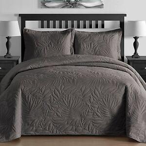 lightweight foliage pressed 3 piece queen king bedspread coverlet set in gray ebay. Black Bedroom Furniture Sets. Home Design Ideas