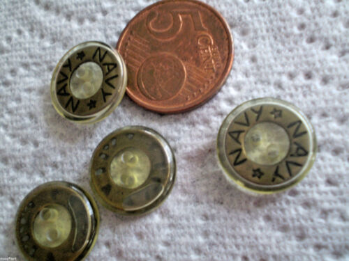 5 Intaglio Jeans Knöpfe Altmessing NAVY Logo 2 Loch Boutons Buttons botones