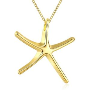 Yellow-Gold-Plated-Necklace-Women-039-s-Pendant-Star-Fish-Lobster-Clasp-B140