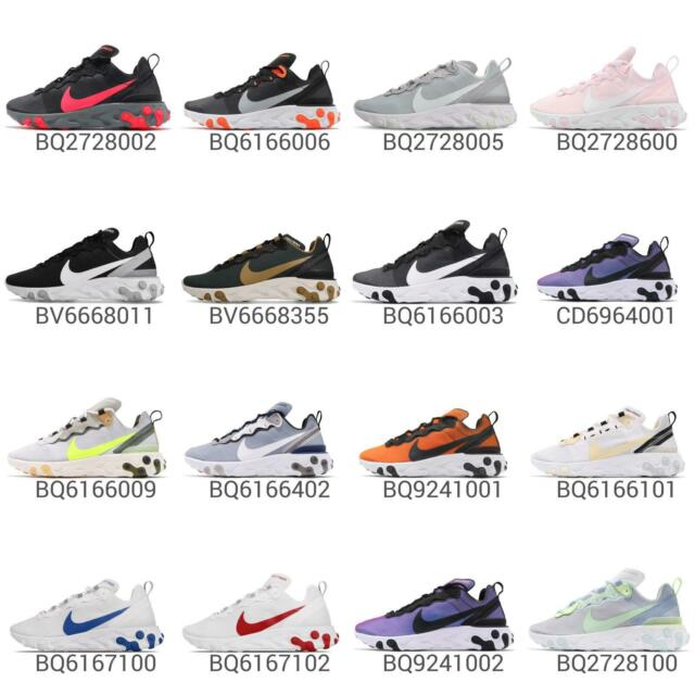 online retailer 34f65 041cf Nike React Element 55 Lightweight Cushion Mens Womens Running Shoes Pick 1