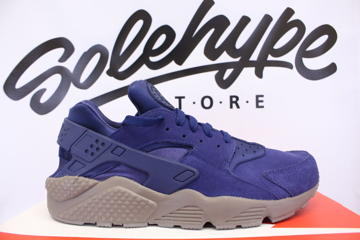 NIKE AIR HUARACHE RUN SE DARK BINARY BLUE SUEDE 852628 400 SZ 9.5