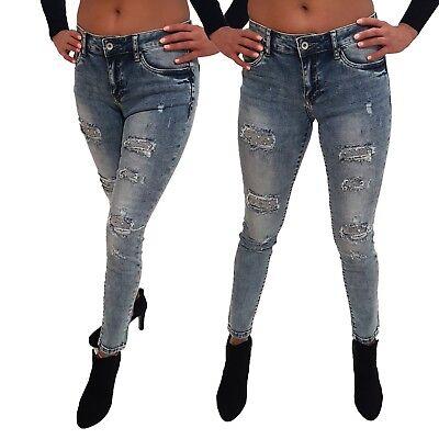 Neu Damen Baggy Skinny Jeans Toxic Strass Perlen Stretch Hose Blau Gr. 36,40 | eBay
