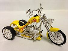 Vintage Three Wheels Bike Iron Chopper Motorcycle Die Cast 1:18 Toy Yellow